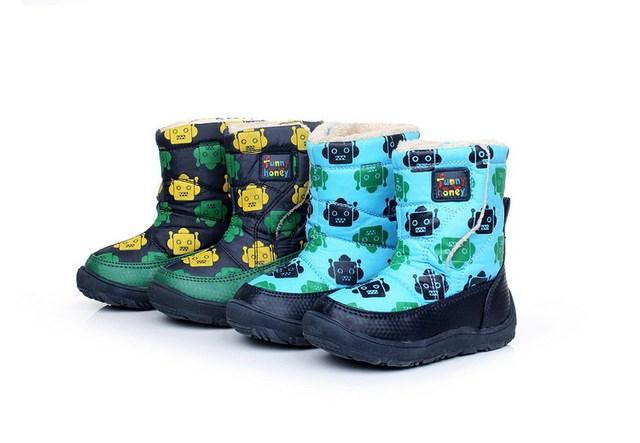El envío Libre 4 Colores Muchachos de Las Muchachas Niños Botas Niños Botas de Invierno Botas de nieve de Dibujos Animados Snowboots Bebé Muchacho de la Muchacha de Los Bebés Calientes de Arranque zapatos