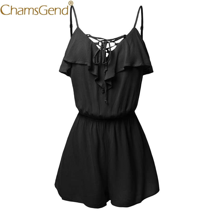 Women's Large Size Ruffle Strappy Playsuit Solid Tunic Shorts Rompers Woman Sleeveless Plus Size Loose   Jumpsuit   90527