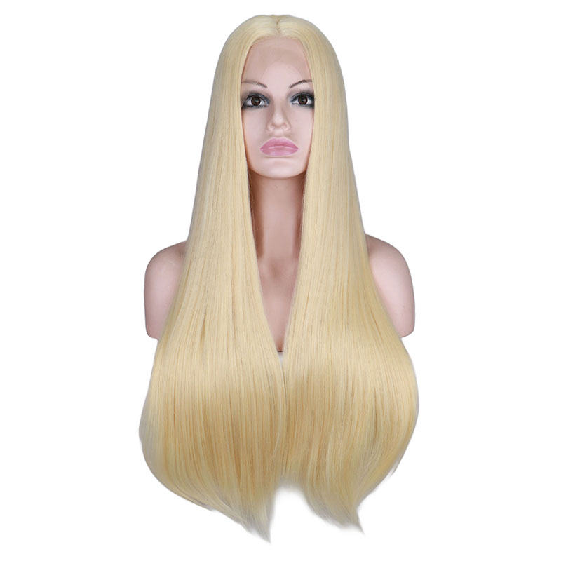 QQXCAIW Synthetic Lace Front Wig For Women Long Straight 26 inch Yellow Black Natural White Heat Resistant Fiber Wigs in Synthetic Lace Wigs from Hair Extensions Wigs