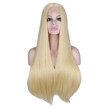 цена на QQXCAIW Synthetic Lace Front Wig For Women Long Straight 26 inch Yellow Black Natural White Heat Resistant Fiber Wigs