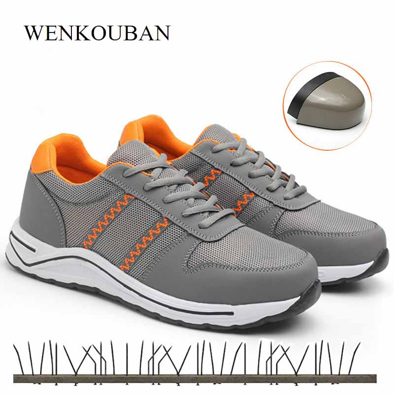 Work & Safety Boots Men's Shoes Provided Fashion Striped Safety Shoes Men Breathable Work Shoes Lightweight Protective Footwear Safety Sandals Large Size 35-46 Ms78