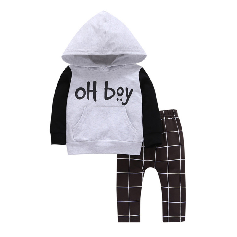 Baby Boys Clothing Sets infant Boy long sleeve Kids hooded Sweatshirts+pants suit hoody+trousers 2pcs clothes 0-1y