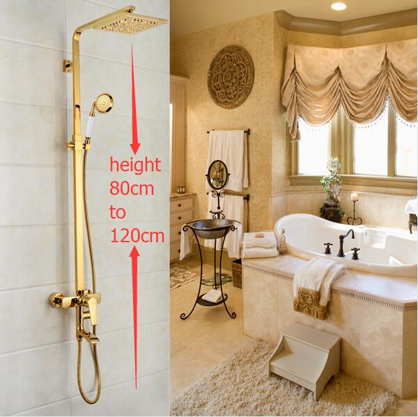 Dofaso brand luxury big rainfall gold shower tap wall mounted waterfall bathtub faucet and golden hose
