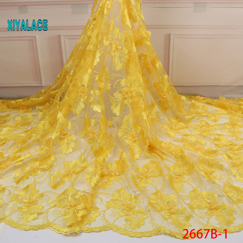 2019 New Style French Net Lace Fabric 3D Flower African Tulle Mesh Lace Fabric High Quality Lace Nigerian Lace Fabric YA2667B-1