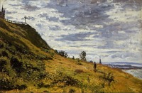 High quality Oil painting Canvas Reproductions Taking a Walk on the Cliffs of Sainte Adres By Claude Monet Painting hand painted