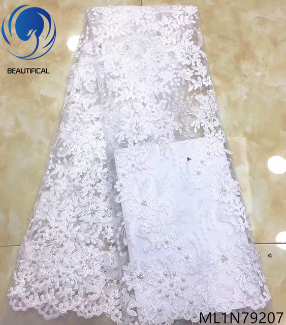 Beautifical tulle lace fabric african 2019 beaded lace fabric net lace fabrics with sequins and beads hot sales 5 yards ML1N792