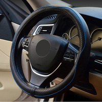Genuine Leather Car   Steering   Wheel   Cover   Anti Slip   Steering   Wheel   Covers   M Size Fits Most Car Black Red Blue