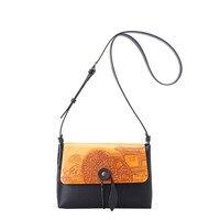 Unique Landscape Original Design Diagonal Women Bag Handmade Calfskin women messenger bags New Pumped Buckle Shoulder Bag