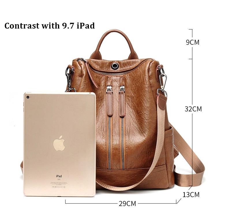 HTB1500GbEjrK1RkHFNRq6ySvpXar Female backpack mochila feminina casual Multifunction Women Leather Backpack Female Shoulder Bag Sac A Dos Travel Back Pack