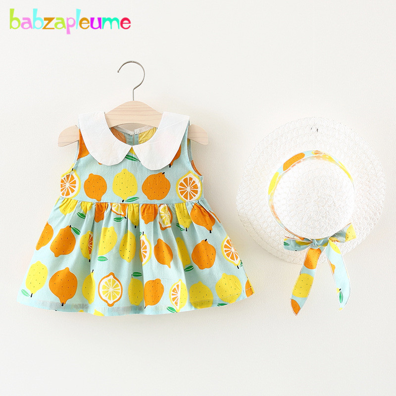 babzapleume 2Piece Baby Girls Dress+Hat 2018 New Summer Kids Clothes Cotton Infant Princ ...