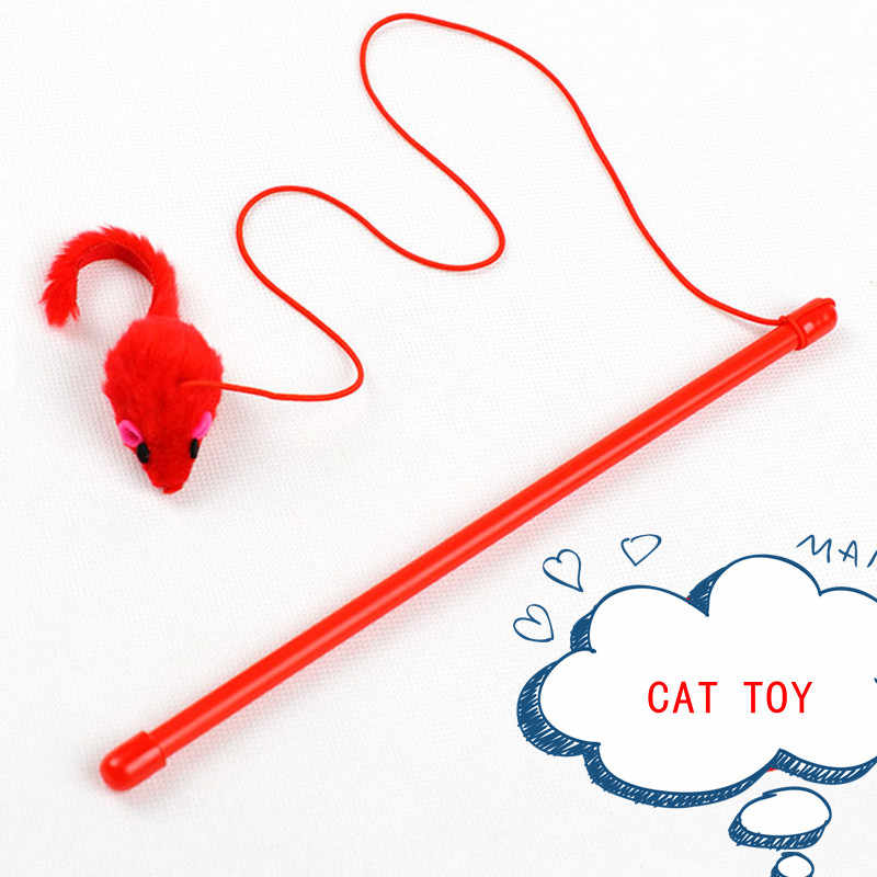 Pet Cat Toy Cute Design Mouse Stick Teaser Wand Plastic Toy for Cat Toys Pet Cat Tunnel Fat Cat Cute