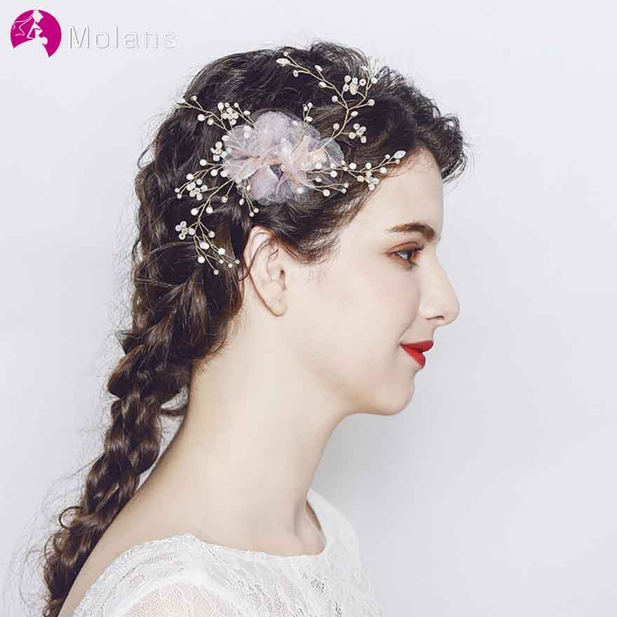 MOLANS New Style Pink Yarn Flower Hairpins for Bridal Wedding Accessories Fancy Alloy Twisted Beading Hair Ornament for Wedding