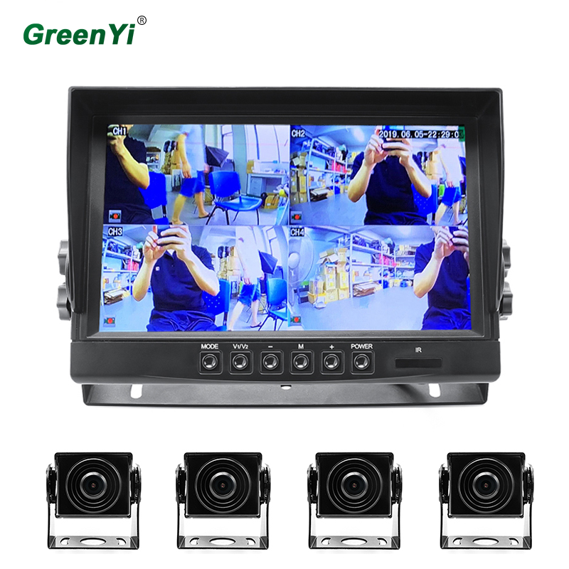 GreenYi 9 pouces DC 24V AHD 1920*1080P voiture DVR 4Ch moniteur d'enregistrement vidéo avec caméra de stationnement avant arrière gauche droite pour camion Bus