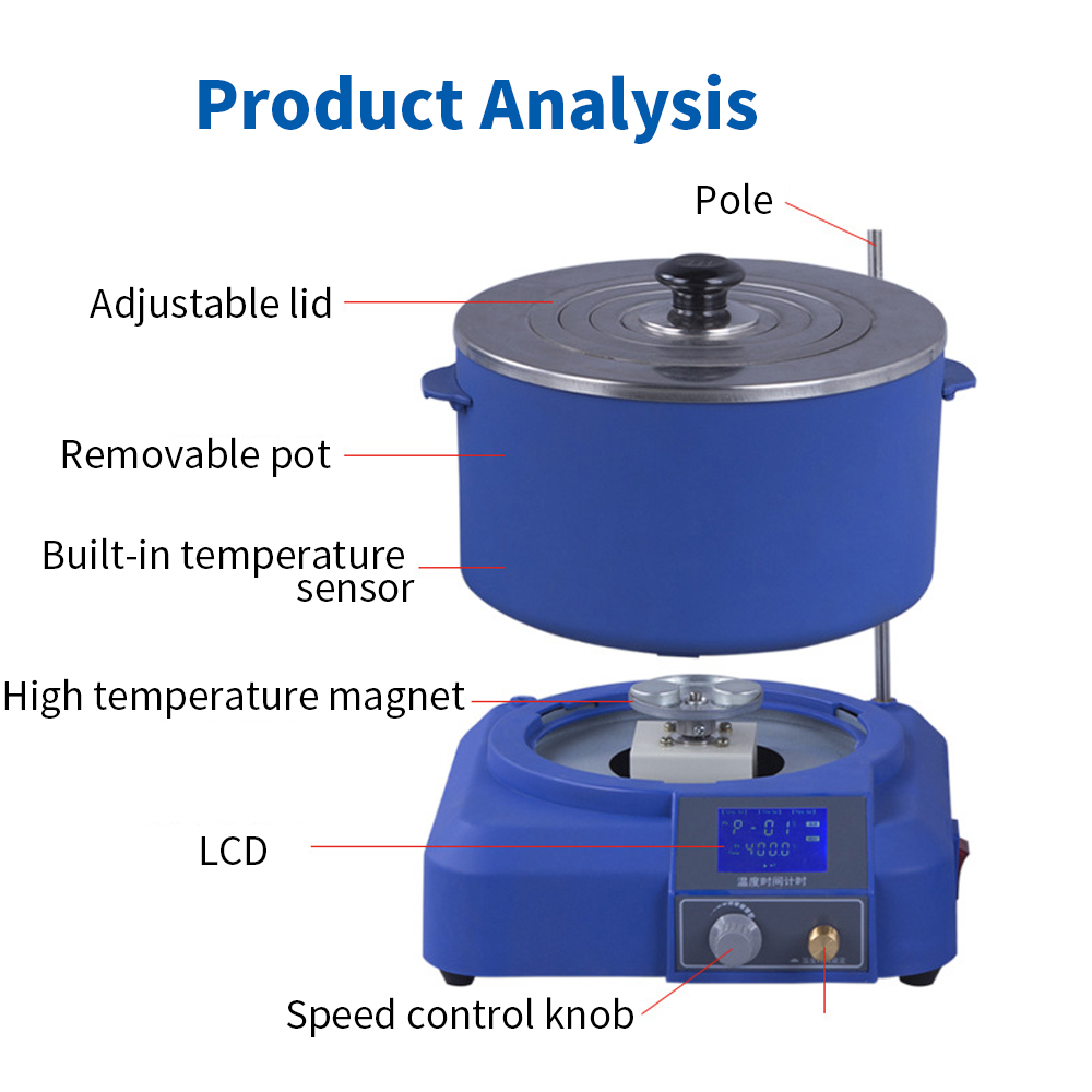 Pantalla de cristal líquido colector de laboratorio tipo agitador magnético temperatura constante calentamiento agua aceite de baño - 5