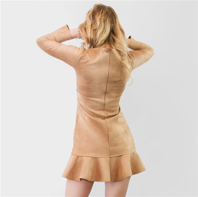 Colorfaith New 2019 Women Dresses Autumn Winter Vintage Suede Ruffles Ladies Mermaid mini Dresses High Waist with Pockets DR8153