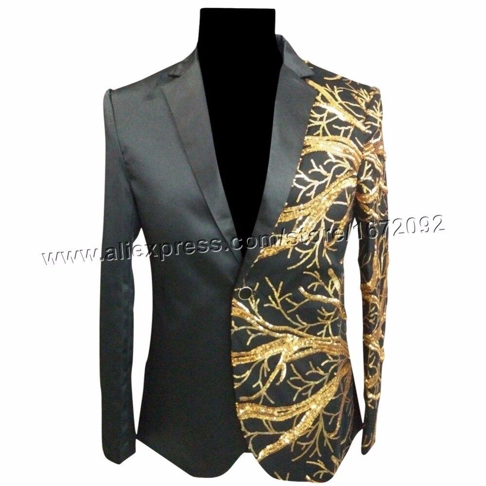 €71.3 |Chaqueta de lentejuelas doradas chaqueta de lentejuelas negra para hombre chaqueta de traje masculino chaqueta de hombre jaqueta masculina