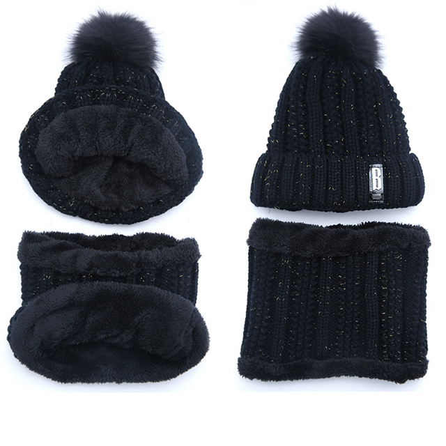 Brand Winter knitted Beanies Thick Warm Beanie Skullies Hat 5
