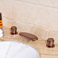 Wholesale and Retail Bathroom Sink Faucet Widespread 3pcs Double Handle Three Hole Vessel Sink Faucet OiL Rubbed Bronze