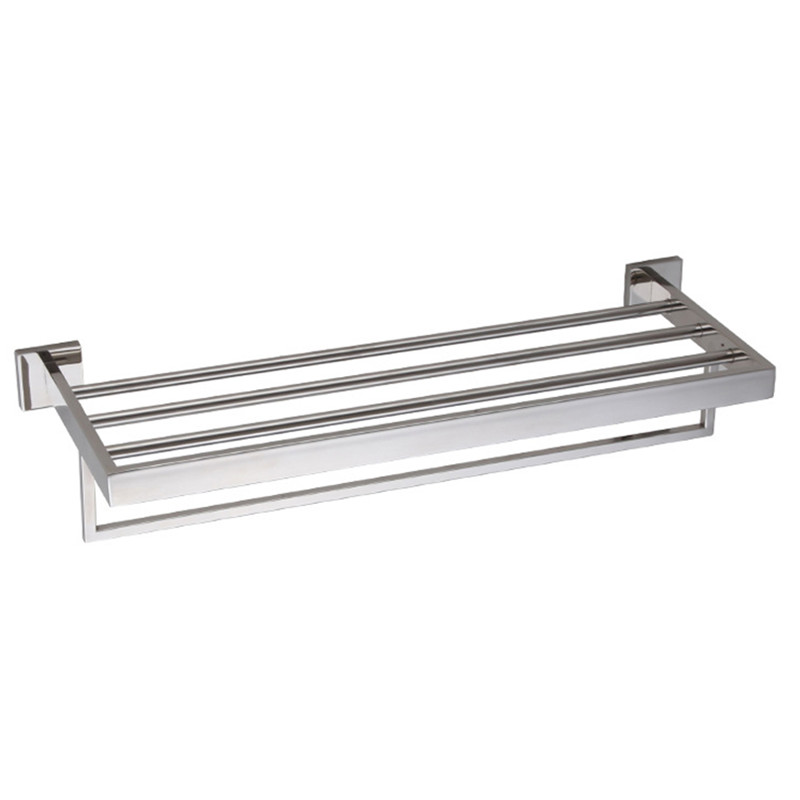 Bathroom Bath Towel Rack with Double Towel Bar Wall Mount Shelf Rustproof Stainless Steel Polished Finish