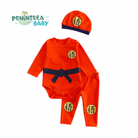Autumn Cartoon Sports Style Baby Girls Boys Long Sleeve Clothing Suit Cotton Infant Bodysuit Pant Hat