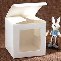 Biały Prezent Opakowanie Karton Wedding Party Favor Prezent Craft Bagażu Papierowych Pudełkach Cukierki Czekoladowe Pudełko Z Okienkiem