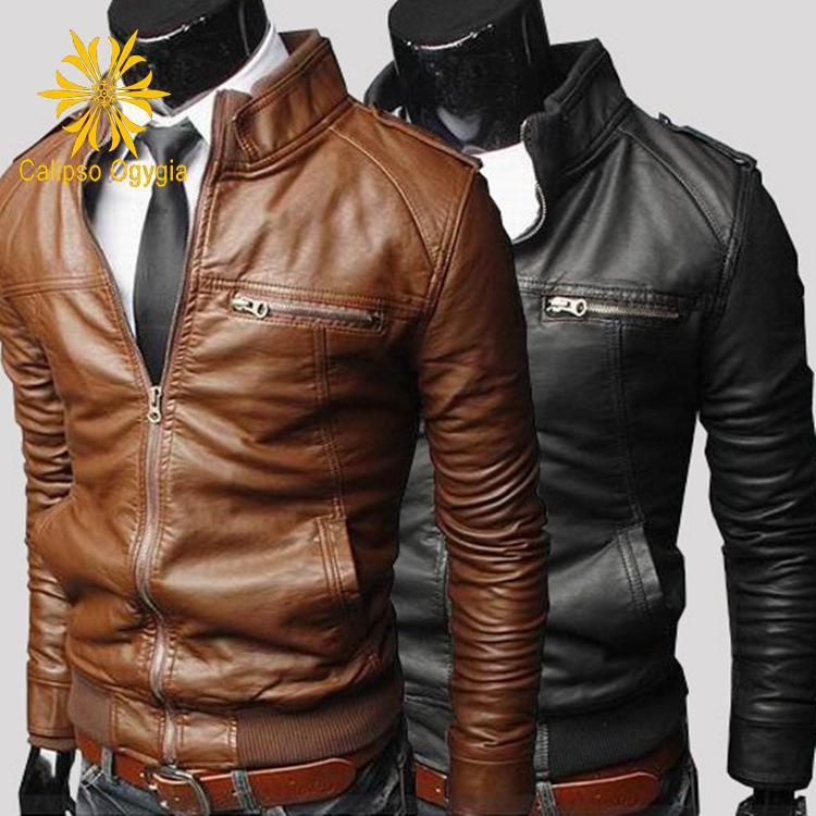Spring Autumn Mens Fashion Faux Leather Coats Outdoor Stand Black Brown Coffee New Slim fit Biker Jackets M-3XL Free shipping