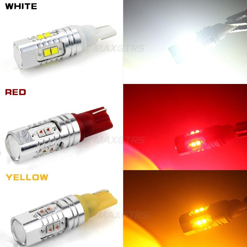 2x T10 194 W5W CREE Chip Led Vit / Gul 25W 50W med Len-projektor - Bilbelysning - Foto 5