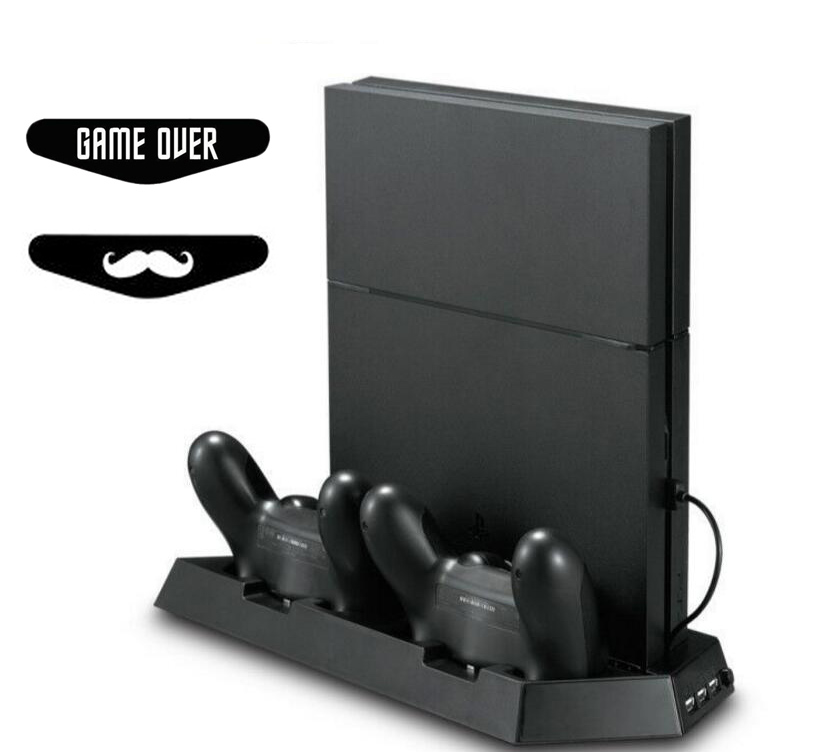 PS4 Slim Fan Vertical Stand Подвійне Охолодження Охолоджувач Радіатор Контролер Зарядка Станція 3 Додатковий USB Для Playstation 4 Slim Console