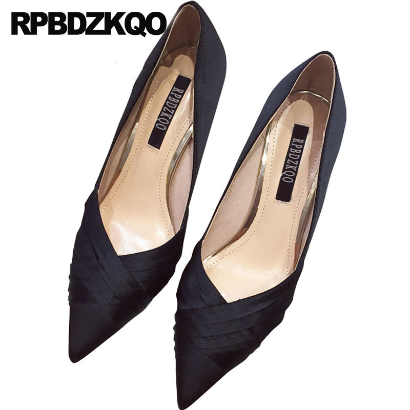 women evening scarpin 2018 black nude pointed toe 8cm pumps high heels thin prom party formal ladies satin dress shoes work