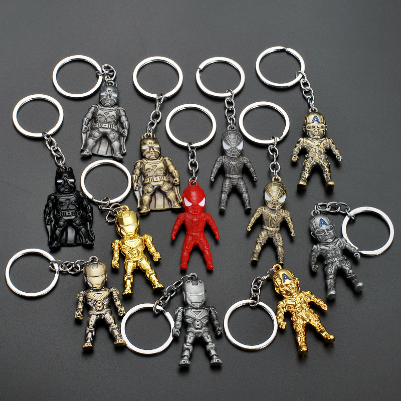 Superhero Batman Keychain Men Trinket Marvel Spiderman Key Chain V For Vendetta Iron Man Key Ring Holder Jewelry Gift Souvenirs