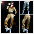 Men Women Paillette Modern Costumes Laser Reflective Sequins Jazz  Glossy Gold Silver  loose Harem Hip Hop Dance Pants