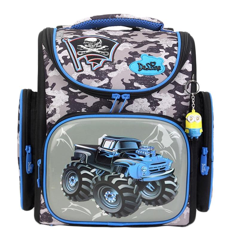 Delune Car School Bags For Boys Girls Cartoon Backpack Children Orthopedic Backpacks Primary Satchel Mochila Infantil