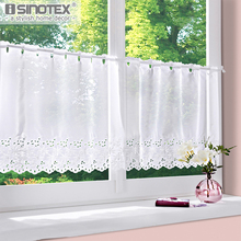 Cafe Curtain Window Treatments Hole Viole Tulle White Floral Polyester  Pastoral Pleated Decoration Living Room Kitchen 1 PCS