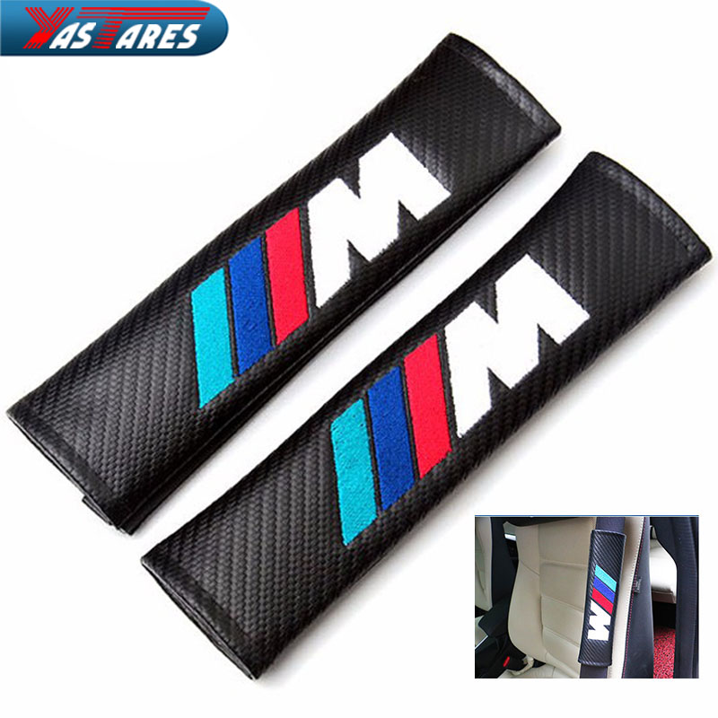 2PCS Carbon Fiber Cloth Car For BMW M Logo Shoulder Pad Sleeve Seat Safety Belt Cover For BMW E90 E91 E92 E53 E60 E46 E63 E64 carbon fiber vinyl leather car steering wheel cover fit for bmw e36 e46 e60 e90 38cm carbon wheel cover interior accessories