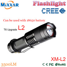 zk50 high-quality 3500LM 5 Modes CREE XM-L2 Mini Black Waterproof LED Flashlights l2 Zoomable lantern LED Torch penlight