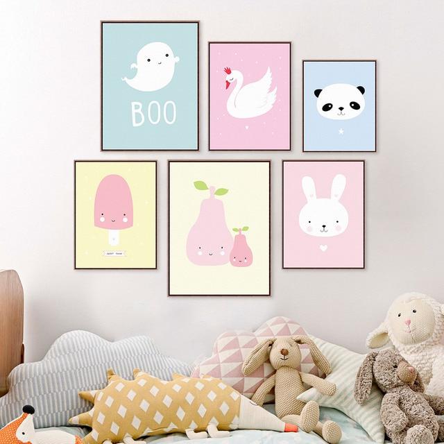 Kawaii Animal Panda Poster Print A4 Modern Nordic Cartoon Nursery Wall Art Picture Kids Baby Room