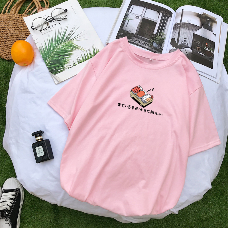 Women Harajuku T Shirt Kpop Sushi Kawaii Printing Tops Summer Short Sleeve Korean Clohes Pastel Color Tee Shirt Femme Tshirts
