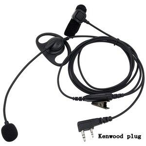 Image 2 - 2 контактная тактическая гарнитура D образной формы с микрофоном PTT, наушники вкладыши, наушники для рации Baofeng Kenwood Talkie