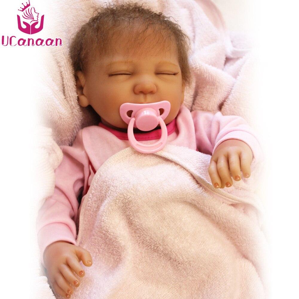 UCanaan 55CM Soft Silicone Doll Reborn Handmade Cloth Body Sleeping Baby Born Alive Kids Dolls Play House Toys For Children ucanaan 55cm soft silicone doll reborn