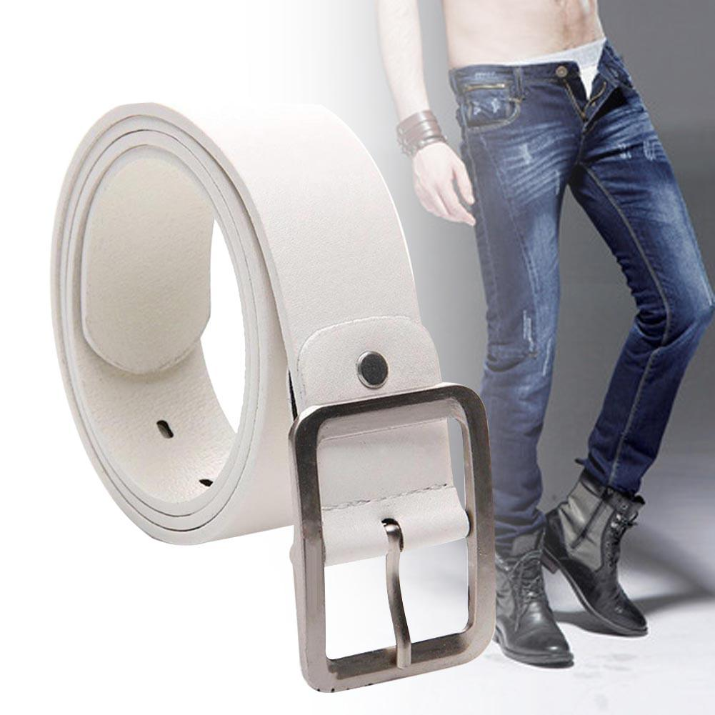 1pc Men's Classic Faux Leather   Belt   Metal Studded Pin Buckle Casual Business Work Jeans Trouser   Belts   High quality White