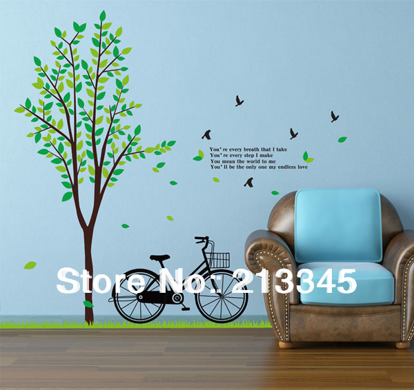 [Fundecor] 2 piece green plants tree bicycle sticker art landscape mural wall  stickers home