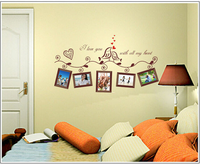Lovebirds Photo Frame removable Wall sticker window sticker bedroom ...