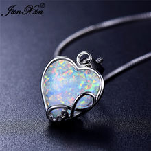 Cute Female Heart Infinity Pendants Necklaces Vintage 925 Sterling Silver Jewelry Boho Blue White Fire Opal Necklaces For Women(China)