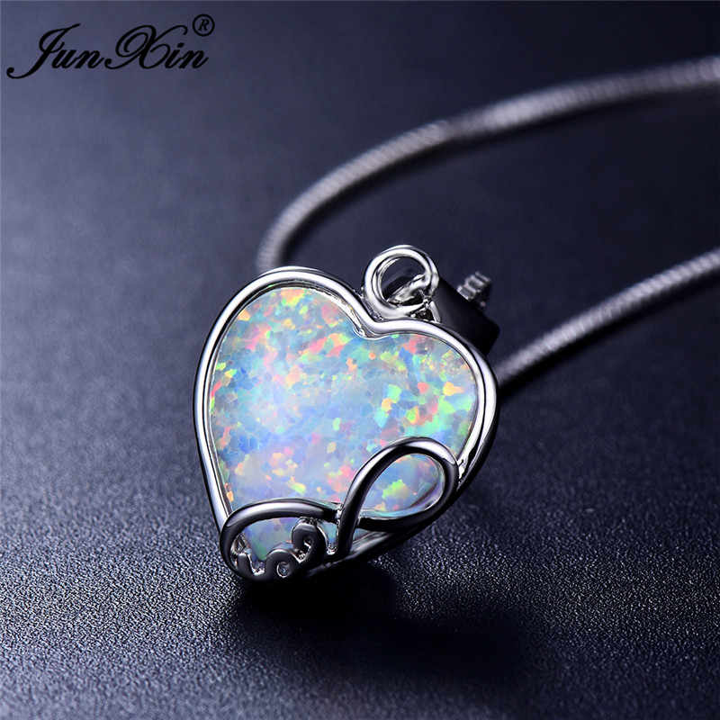 Cute Female Heart Infinity Pendants Necklaces Vintage 925 Sterling Silver Jewelry Boho Blue White Fire Opal Necklaces For Women