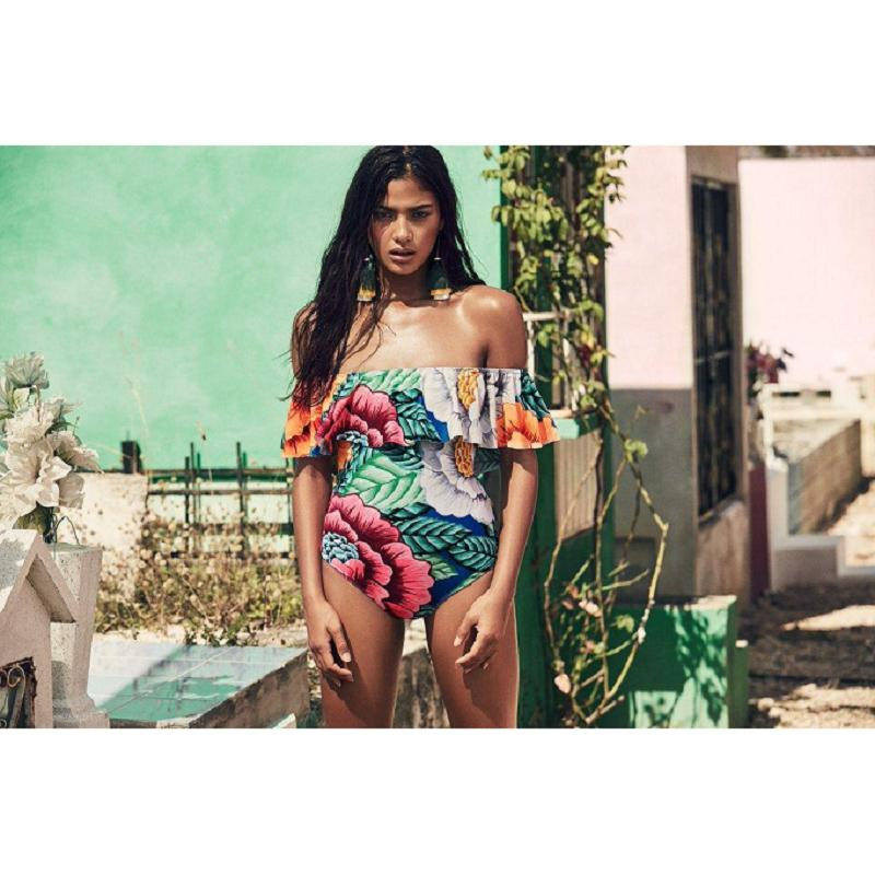 c88899a572 Summer Sexy Floral Off Shoulder Swimwear Women High Cut Bathing Suit Ruffle  Plus Size Monokini Thong Girl One Piece Swimsuit-in Body Suits from Sports  ...