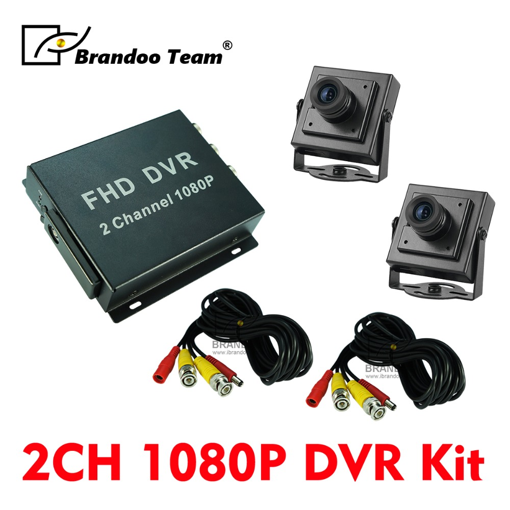 DIY 2 Kanal CCTV DVR system für home und büro überwachung, 2 kameras aufnahme 1080 P Volle HD video Überwachung