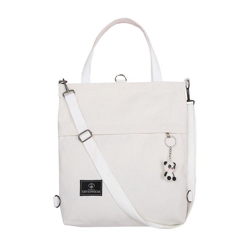 Women Canvas Tote Ladies Casual Shoulder Bag Foldable Shopping Bags Beach Bag Cotton Cloth Female Handbag With Panda Pendant