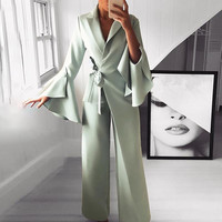 2019 Spring Irregular Flared Sleeve Long Jumpsuits Lace Up 3 Colors Knot Side Wide Leg Jumpsuit
