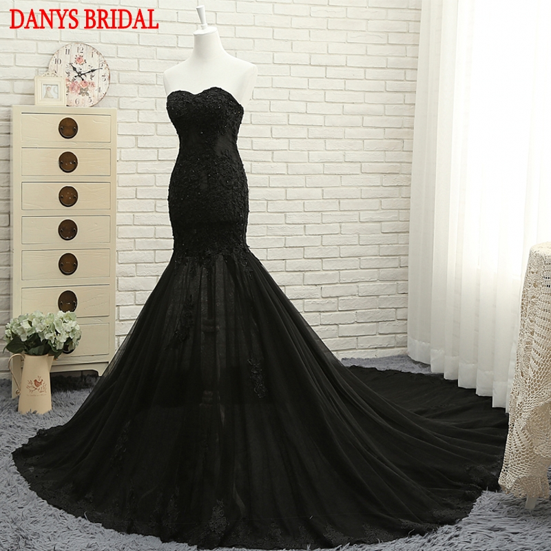 Black Long Lace Mermaid Evening Dresses Party Women Sweetheart ...