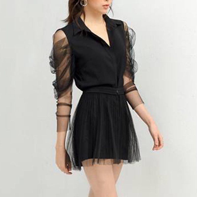 Max Spri 2019 New Women 2 Two Piece Sets Fashion V Neck Mesh Ruched Sleeve Top With Black Shorts Casual Sexy Office Lady Wearing in Women 39 s Sets from Women 39 s Clothing